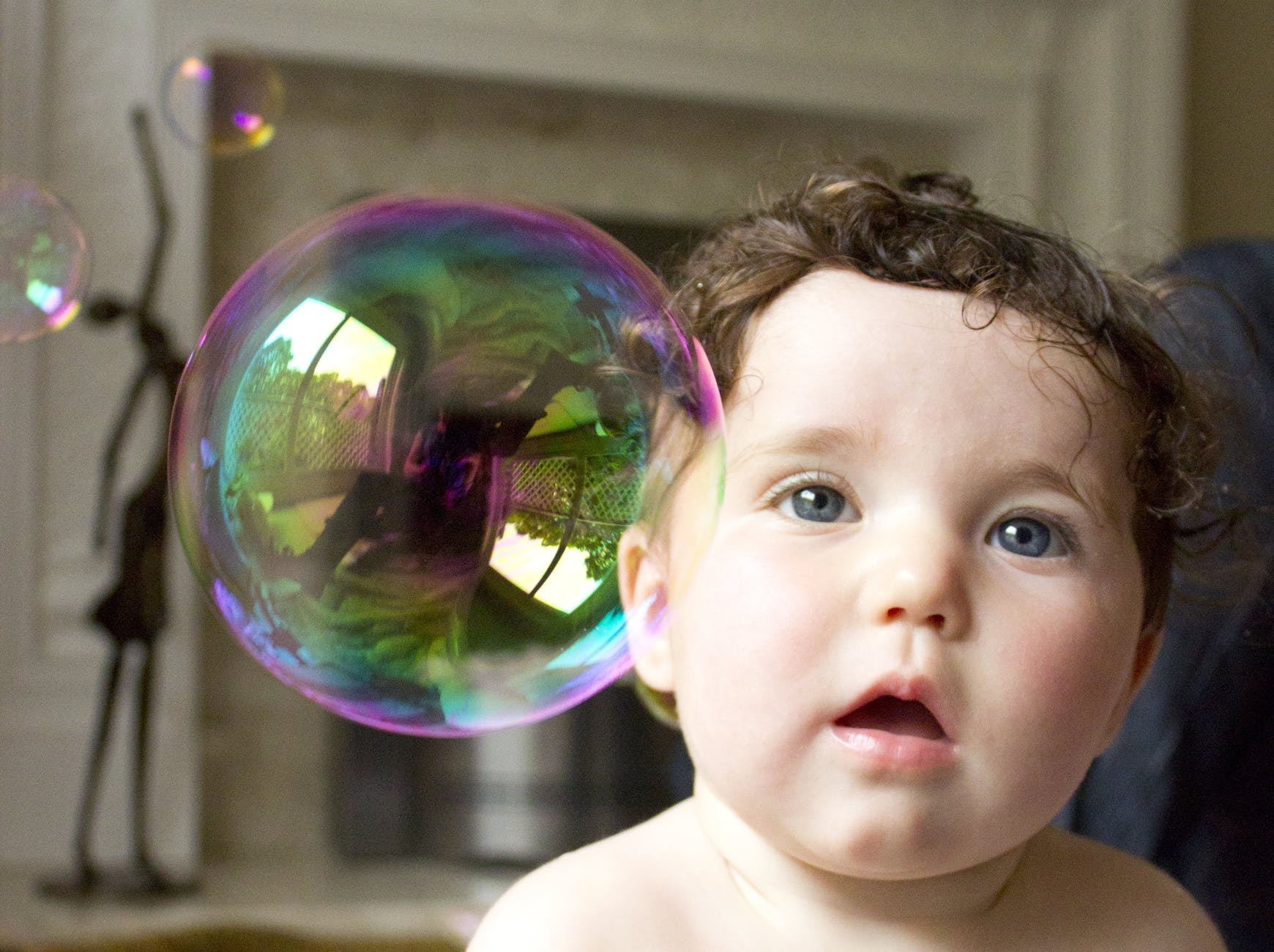 adorable baby boy bubble