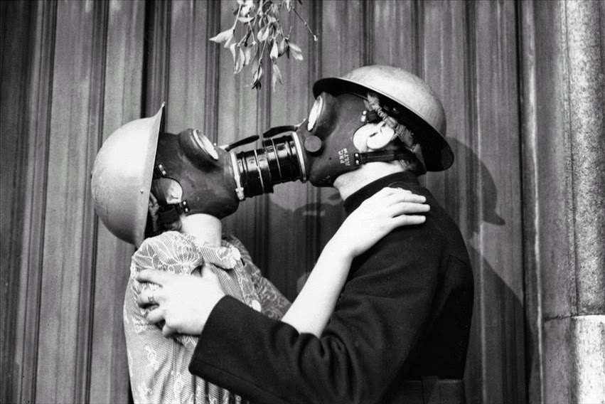 Gas Mask Kiss, London, 1940 ~ Vintage Everyday